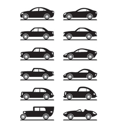 Modern and vintage cars vector image vector image