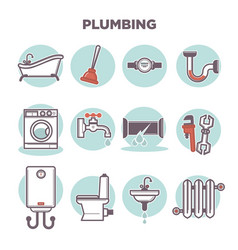 plumbing template with flat icons set on white vector image