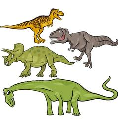 Prehistoric dinosaurs cartoon set vector