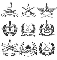 set of ancient weapon emblems muskets saber vector image vector image