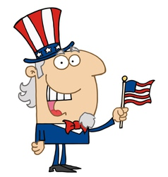 Uncle Sam Smiling And Waving A Flag vector image vector image