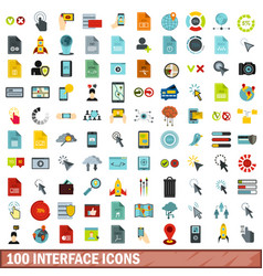 100 interface icons set flat style vector image