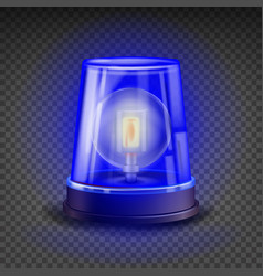 blue flasher siren 3d realistic object vector image
