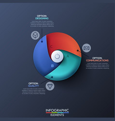 infographic design template with circle divided by vector image vector image