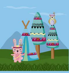 rabbit and owl cute hippie cartoon vector image
