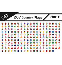 set 207 country flag circle vector image