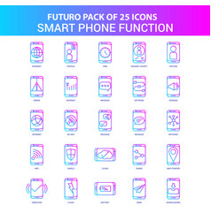 25 blue and pink futuro smart phone functions vector image