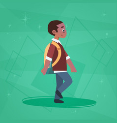 African american boy pupil walking school boy vector