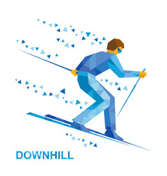 Alpine skiing skier running downhill vector