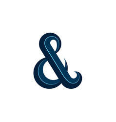 ampersand logo calligraphic symbol blue design vector image