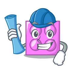 Architect toy brick character cartoon vector