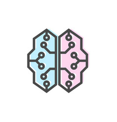 Artificial intelligence icon with cyberbrain sign vector