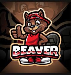 Beaver esport mascot logo design vector