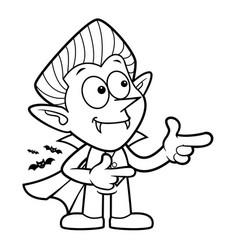 Black and white cartoon dracula mascot directs vector