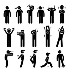 body stretching exercise stick figure pictogram vector image