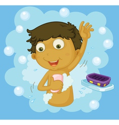 Boy showering vector image