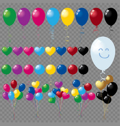 bunches and groups of colorful helium balloons iso vector image