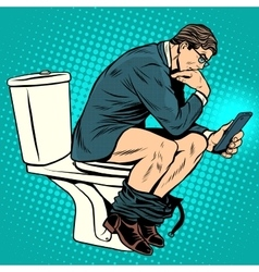 businessman thinker on toilet vector image