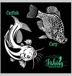 Catfish and carp fishing on usa isolated on black vector