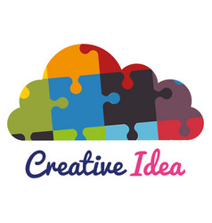 cloud with puzzle pieces creative ideas vector image