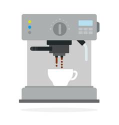 coffee machine prepares coffee flat isolated vector image