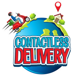 Contactless delivery logo with bike man or courier vector
