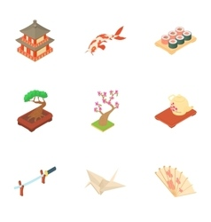 Country south korea icons set cartoon style vector