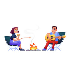 couple campers resting at campfire together vector image