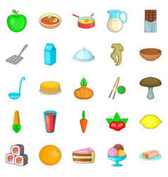 Culinary ingredient icons set cartoon style vector