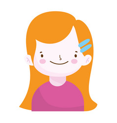 Cute little girl portrait cartoon children vector