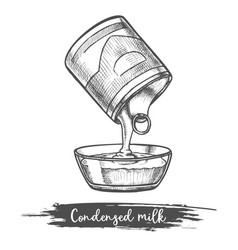 dairy product sketch condensed milk pouring bowl vector image