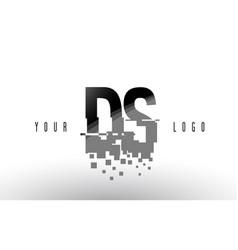 Ds d s pixel letter logo with digital shattered vector