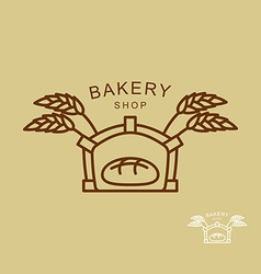 Emblem of bakery shop Fresh bread and wheat spikes vector