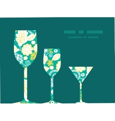 Emerald flowerals three wine glasses vector