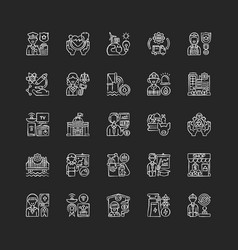 Essential services chalk white icons set on black vector