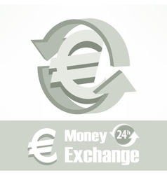 Euro symbol in grey vector image
