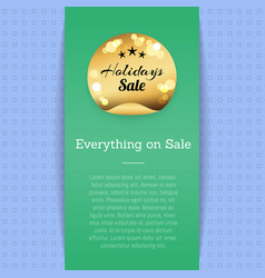 everything on sale golden label with stars poster vector image