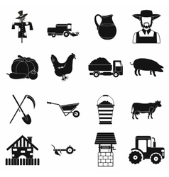 Farm black simple icons set vector