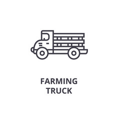 farming truck line icon outline sign linear vector image