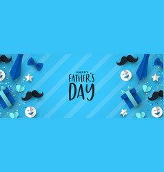 fathers day banner paper icons for dad holiday vector image