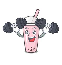 fitness raspberry bubble tea character cartoon vector image