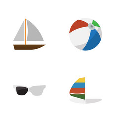 Flat hot set of surfing spectacles yacht and vector