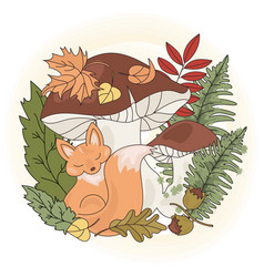 Fox mushroom animal season nature vector