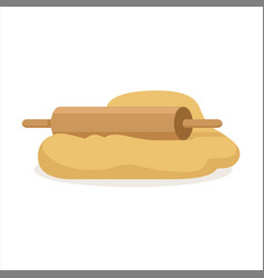 fresh raw dough and rolling pin vector image
