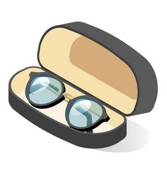 Glasses in black frame in case eyeglasses or vector