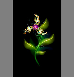 glowing modern flower three-blade colorful vector image
