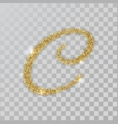 gold glitter powder letter c in hand painted style vector image