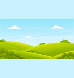 green lush lawn bushes shrubs summer landscape vector image