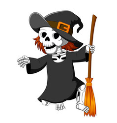 Halloween skeleton wearing a witch hat vector