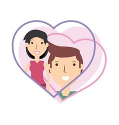 Happy couple lover inside heart design vector